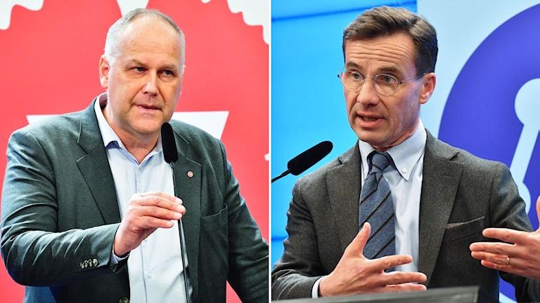 Vänsterledaren Jonas Sjöstedt och Moderatledaren Ulf Kristersson.
