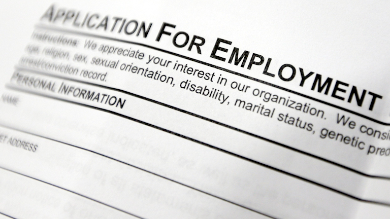 """A form with the heading """"application for employment"""""""