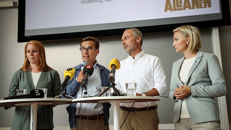 At today's Alliance press conference; Annie Lööf , Centre party leader, Moderate party leader Ulf Kristersson, Liberals leader Jan Björklund and Christian Democrat's Ebba Busch Thor.