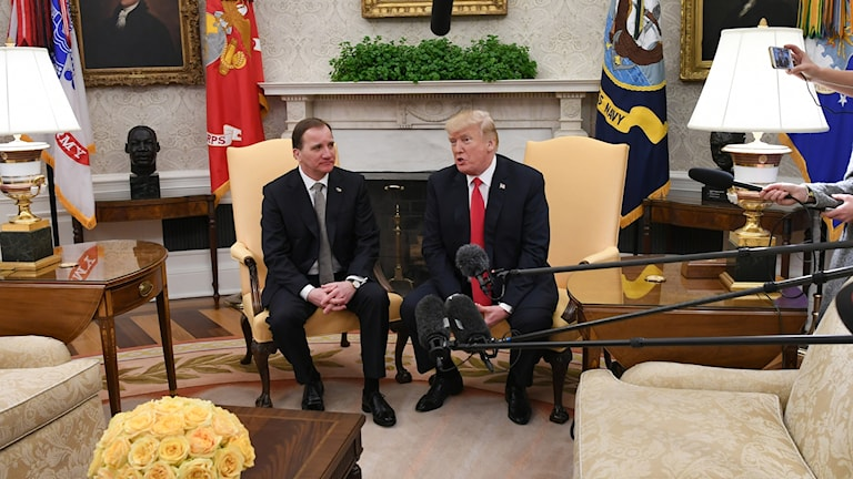 US President Donald Trump welcomed Prime Minister Stefan Löfven at the White House.