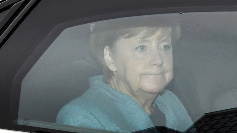 German Chancellor Angela Merkel pictured as she arrives for a meeting with her party, the CDU, at their headquarters in Berlin the day after the election.