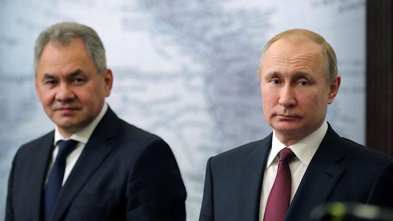 Russia's defence minister Sergey Shoygu (left) with President Vladimir Putin.