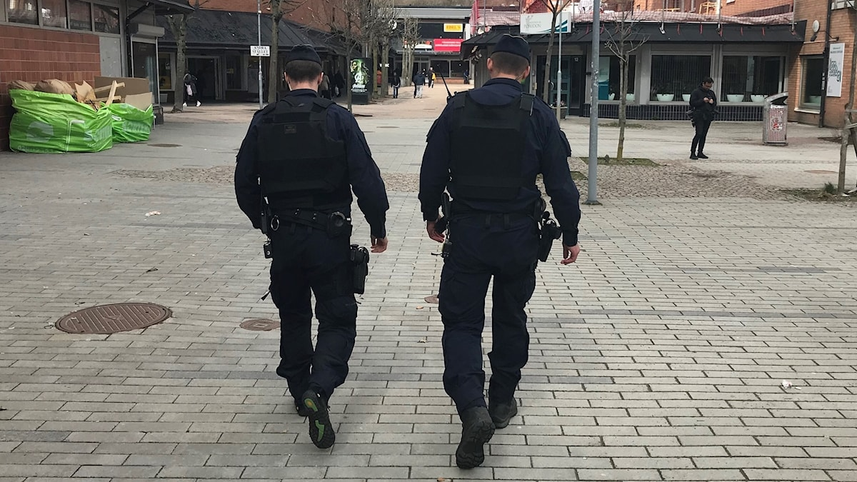 The backs of two police officers walking in a public square.