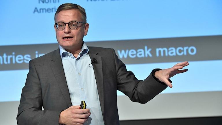 Ericsson acting CEO Jan Frykhammar speaks at a Friday morning press conference.