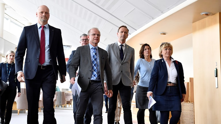 Moderate, centre, liberal, and Christian democrat parties on their way to a press conference
