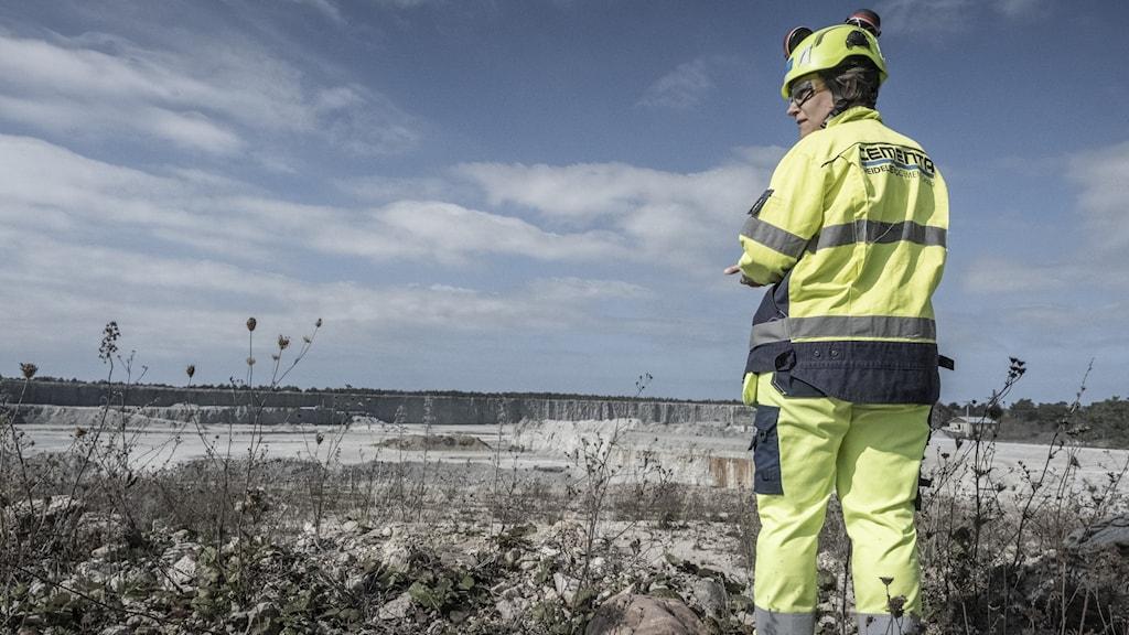 A woman in a hi-vis uniform standing above a limestone mine.