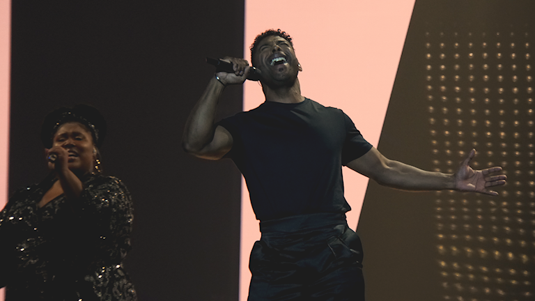John Lundvik during one of the Eurovision rehearsals