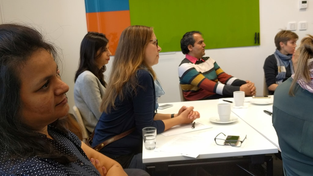 Sumita from India and other participants listen to a lecture on Swedish work culture.