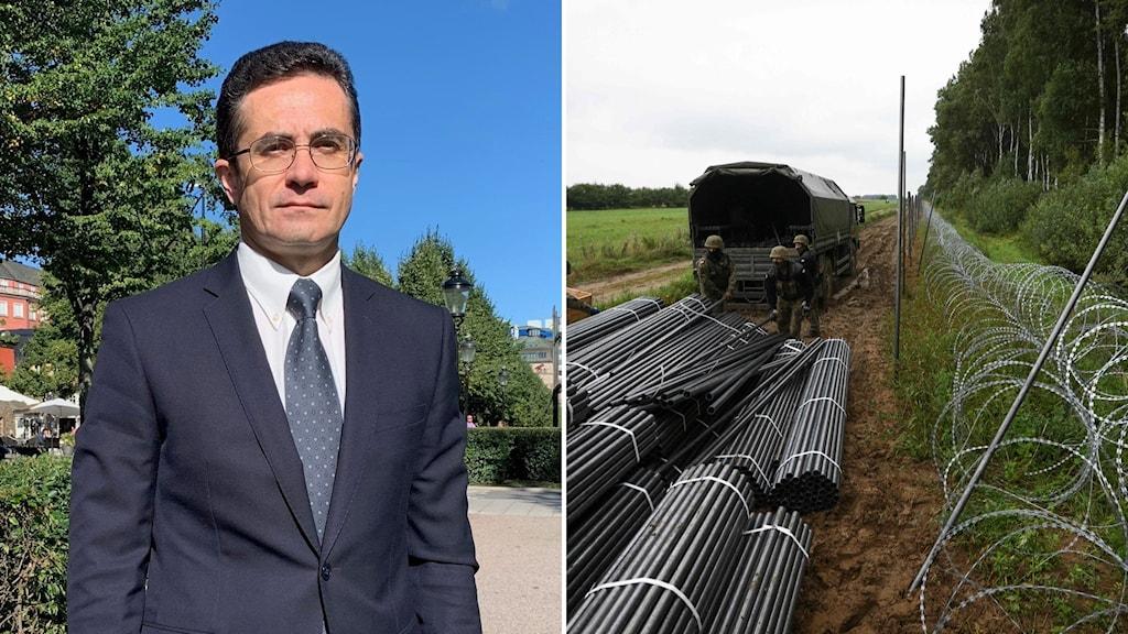 Belarus ambassador to Sweden, Dmitrij Mirontjik and an image from the Belarusian-Polish border.