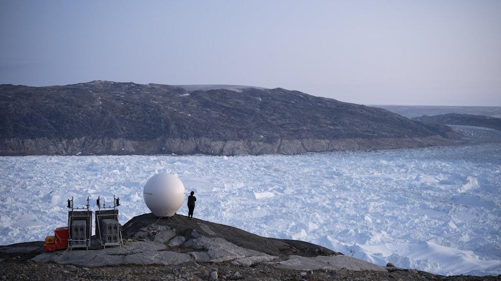 A view of a glacier in Greenland