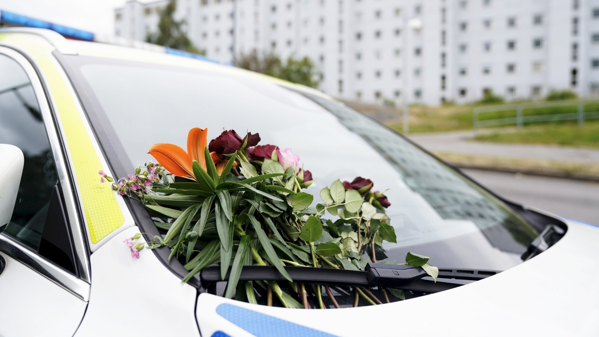 Flowers on a police car