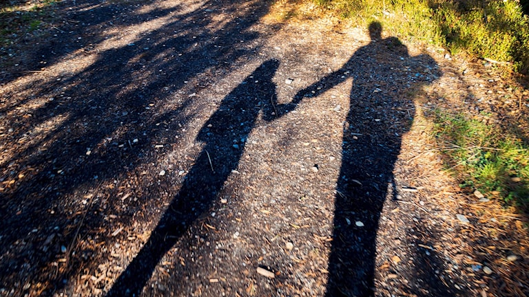 Shadow of adult and child on a pathway