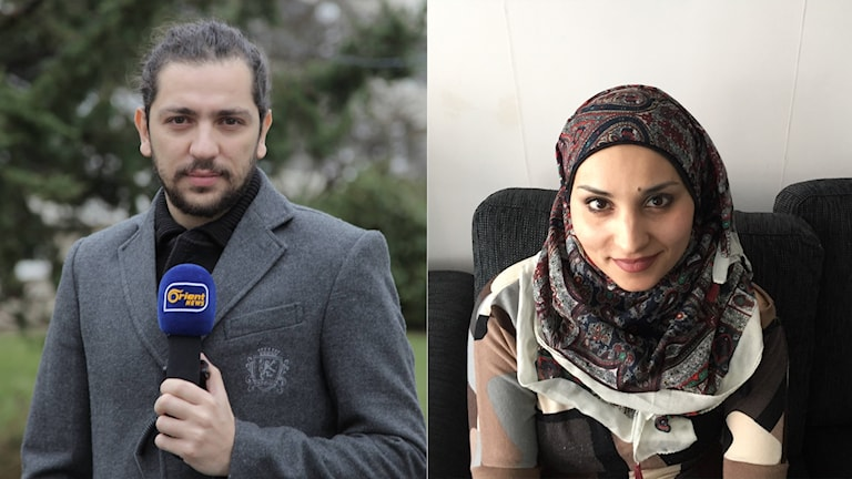 Ibrahim (left) holding a microphone. Nour (right) sitting on a couch.