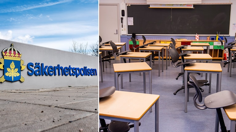 Split image: logo for the security and intelligence service and an empty classroom.