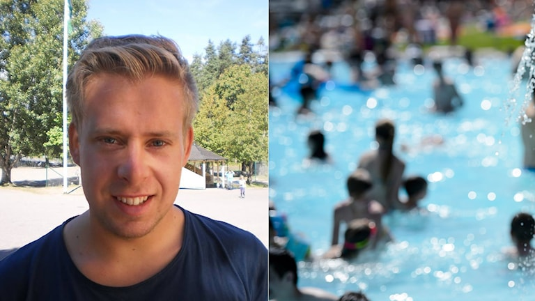 Portrait of a young man, next to a blurred image of people in a swimming pool.