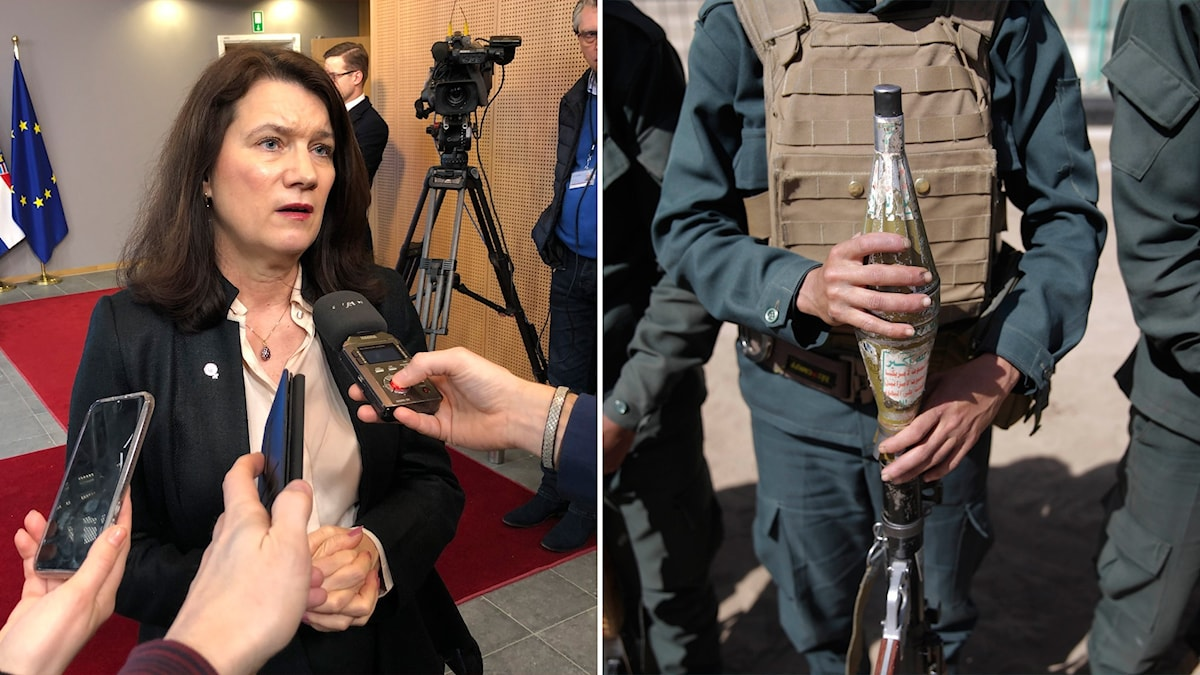 Two photos. One of a woman speaking into handheld microphones and other of a person holding a military rocket launcher.