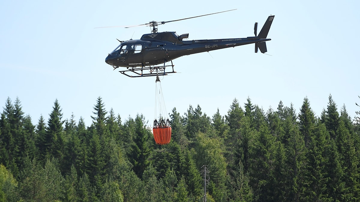 A helicopter flying over a forest.