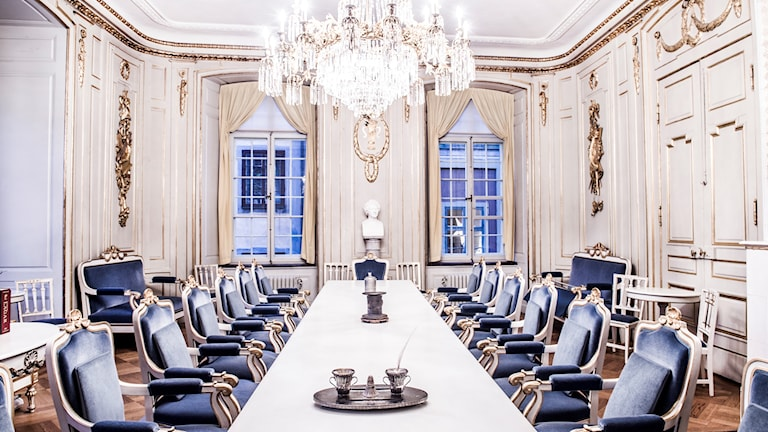 The meeting room of the Swedish Academy.