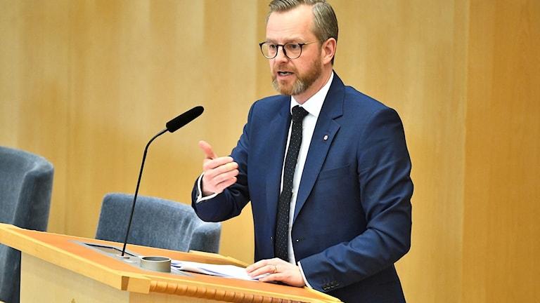 Interior minister Mikael Damberg speaks.