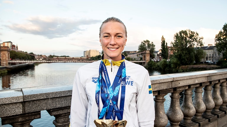 Sarah Sjöström with her medal haul of four golds in Glasgow.