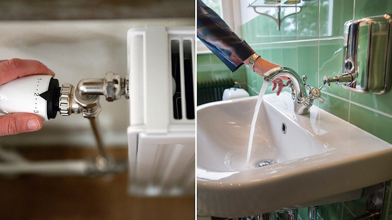Two photos. Left: A hand setting the temperature on a radiator. Right: A hand turning on water from a sink faucet.