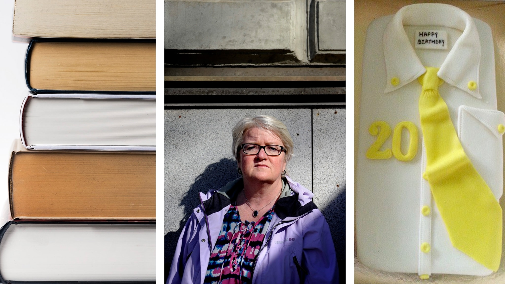 stack of books, portrait of a woman, a cake that looks like a button-down shirt with a yellow tie