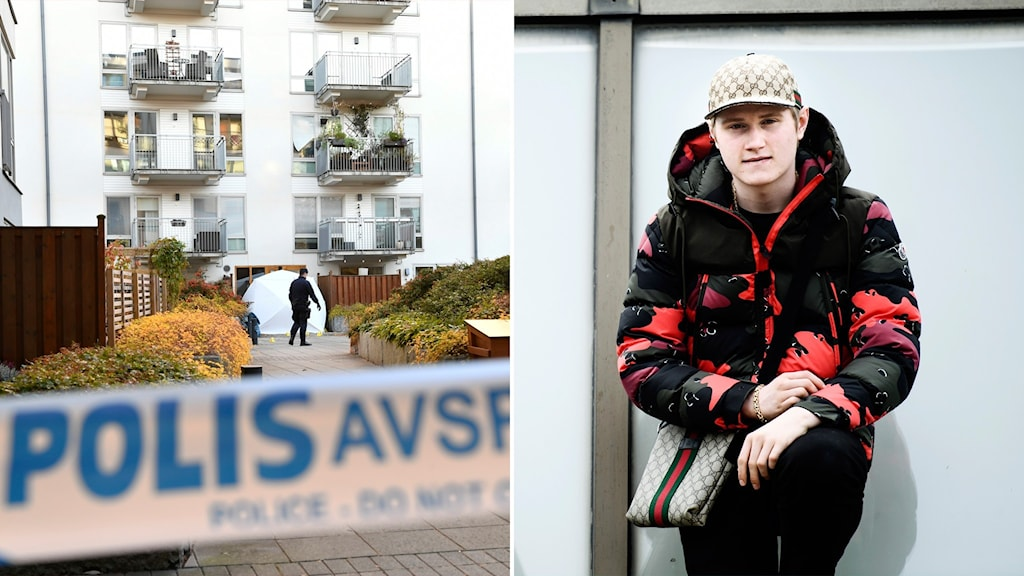 A picture of a crime scene with a police barrier in the foreground, and a picture of Einar in a puffy black and red jacket.