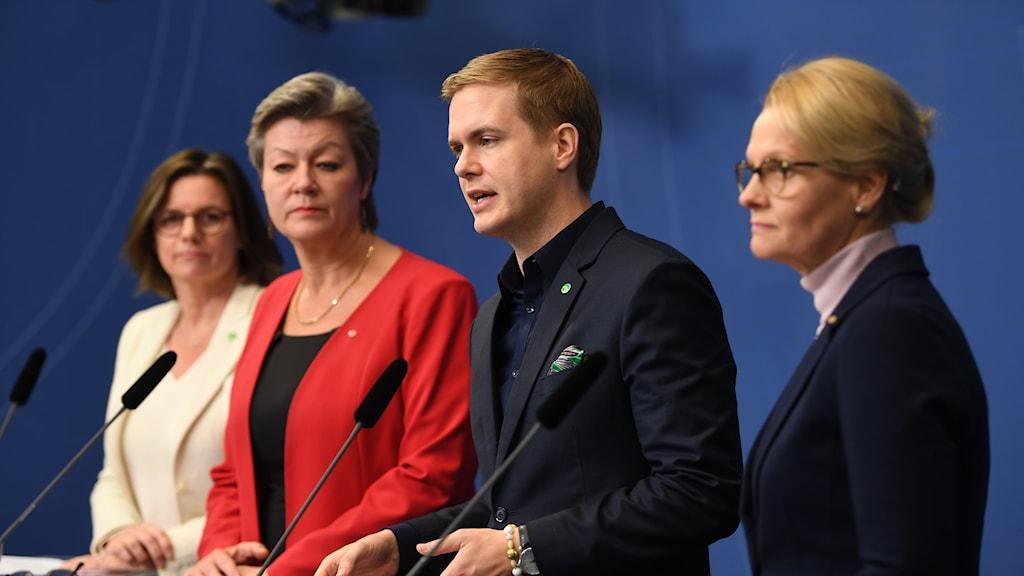 Four cabinet ministers Isabella Lövin, Ylva Johansson, Gustav Fridolin and Heléne Fritzon
