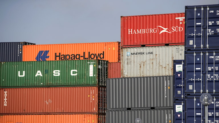 Containers piled at a port
