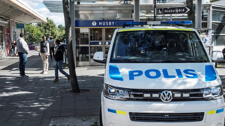 A police car in Husby centre in August.