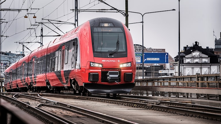 A train on a track.