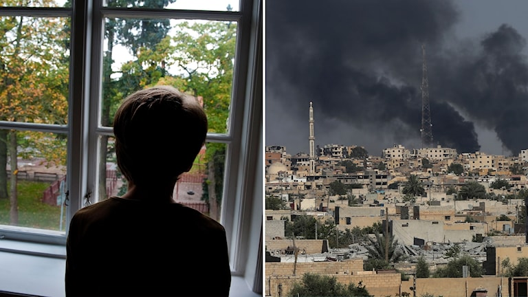 Child staring through window and Raqqa