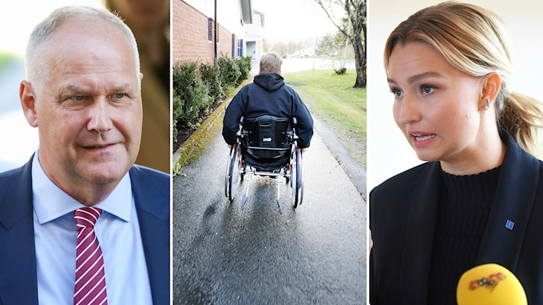 The leaders of the Left Party and Christian Democrat parties, with an image of a person in a wheelchir between them.