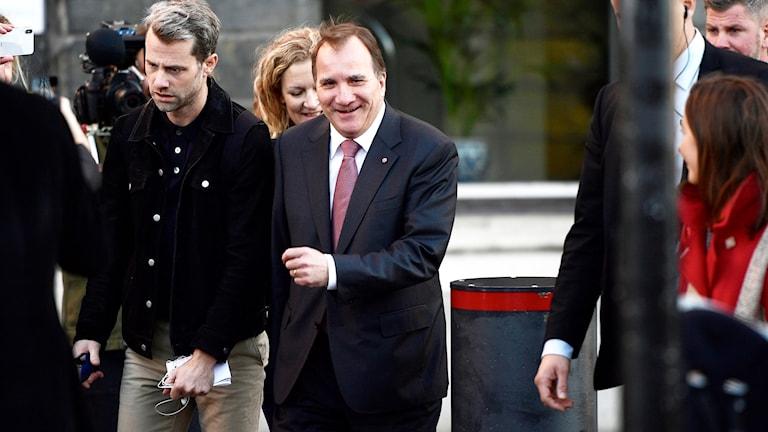 Stefan Löfven arriving for his progress report with the speaker of parliament.