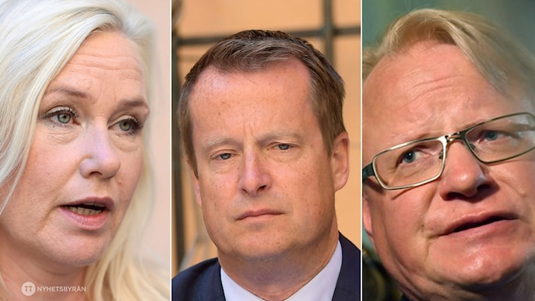 The Alliance bloc has called a no-confidence motion in Infrastructure Anna Johansson (left) Interior Minister Anders Ygeman (centre) and Defence Minister Peter Hultqvist (right)