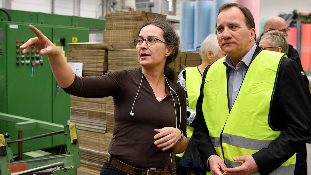Prime Minister Stefan Löfven meeting with businesses in Lessebo municipality.