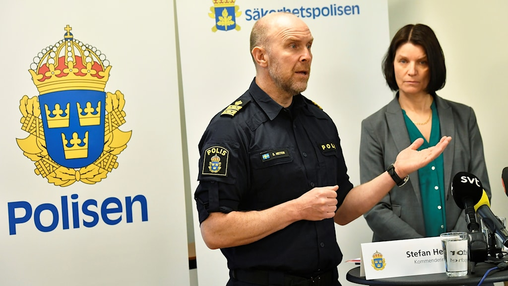 Stefan Hector of the Swedish police speaks about their work during the 2018 election.