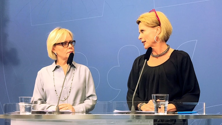 Sweden's minister for gender equality, Åsa Regnér, right, presenting the head of the new gender equality agency, Lena Ag, left.