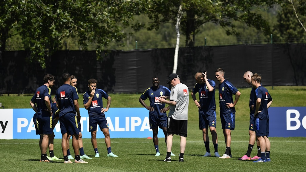 Players from the Swedish national team training in Gothenburg.