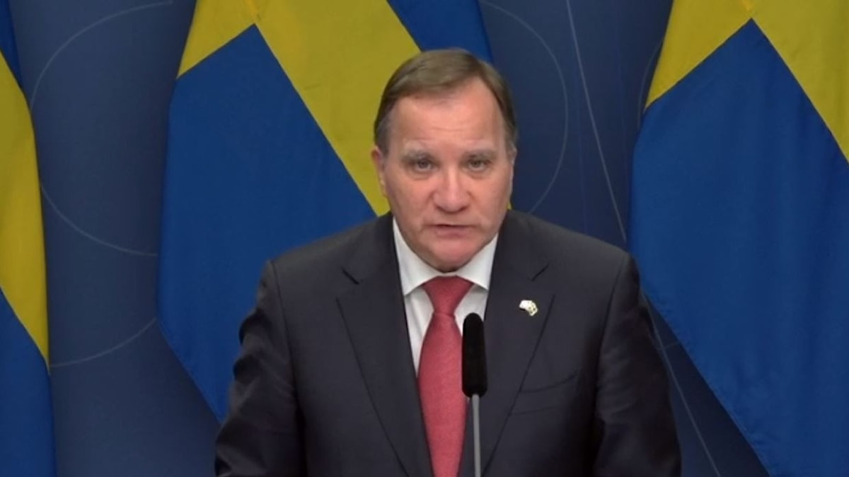 Prime Minister Stefan Lofven gives a speech.
