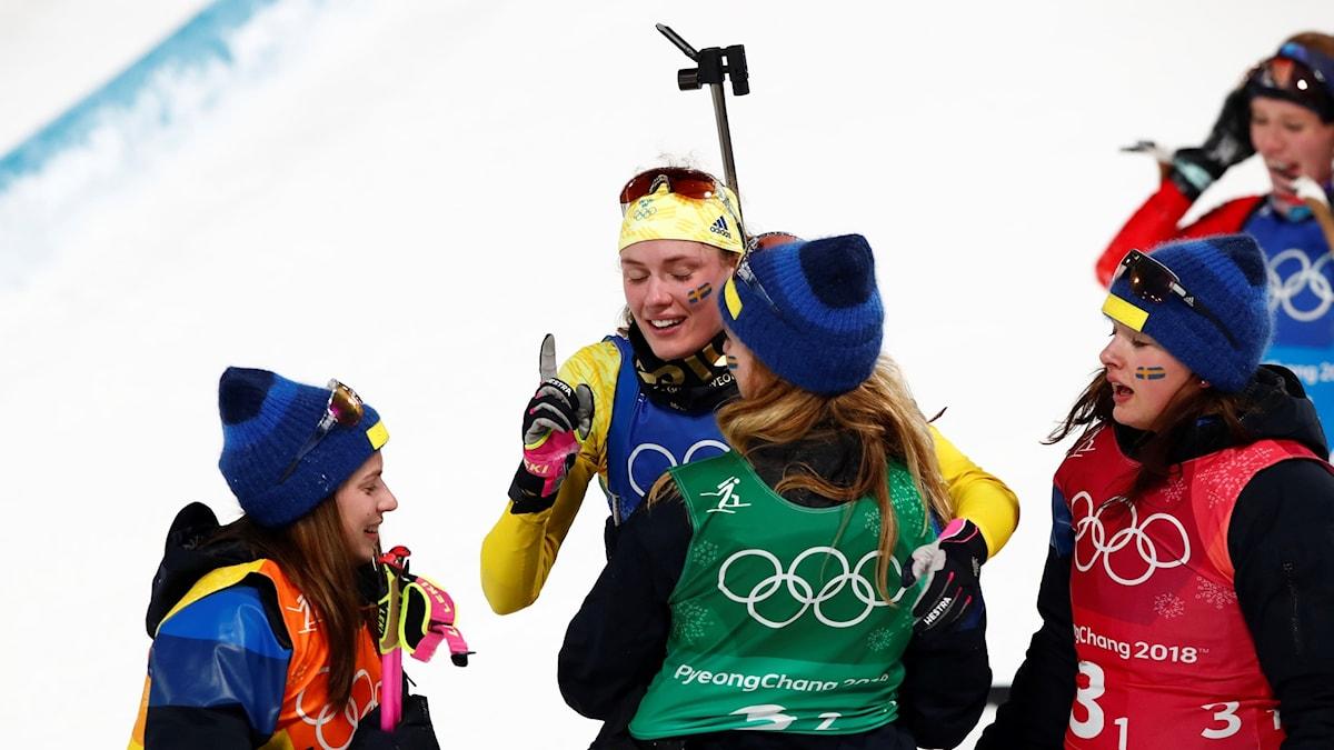 Hanna Öberg celebrates another medal in the women's biathlon relay.