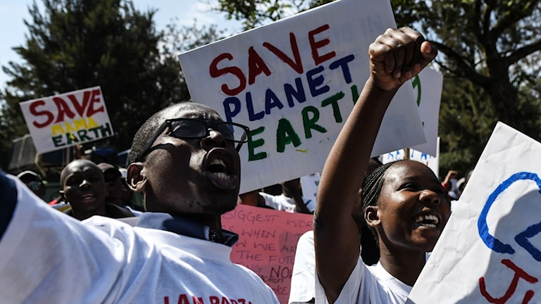 People in Kenya demonstrating for the environment.