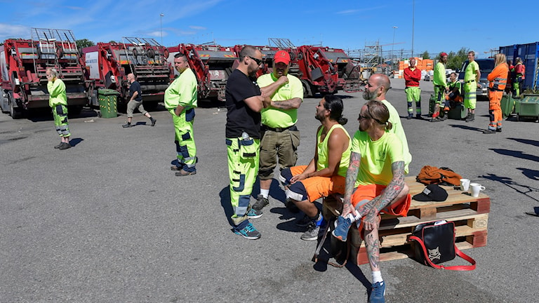Several garbage collection workers gathered near trucks, wearing yellow hi-vis vests.