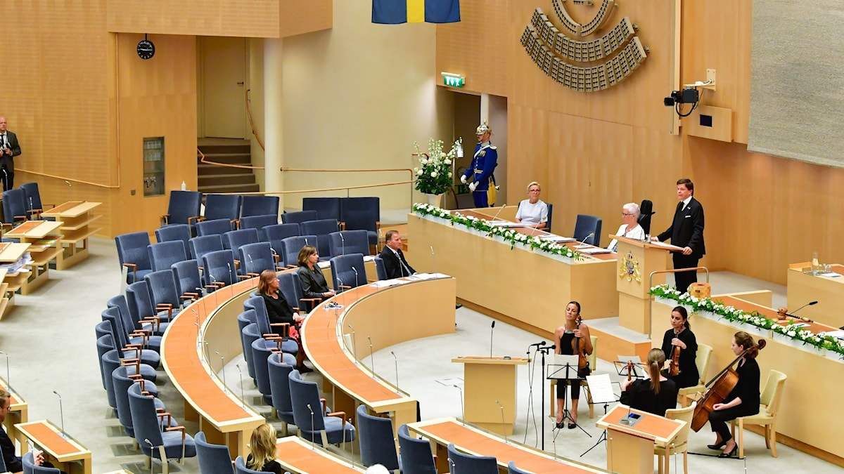 The Swedish parliament, almost empty