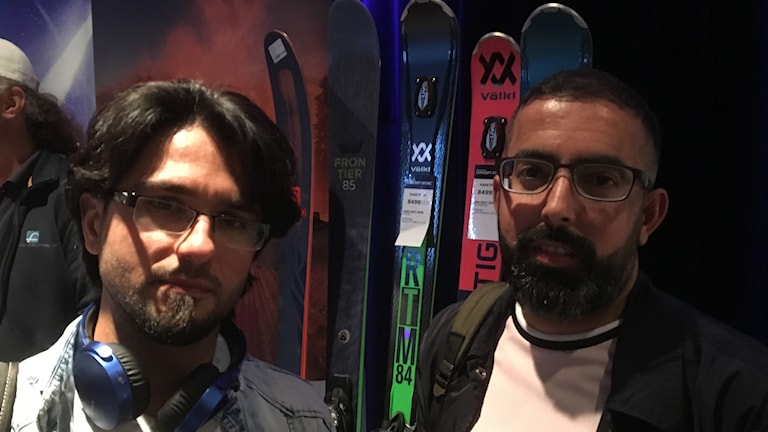 Mohammed Rashad (right) and friend attend a recruitment fair in Stockholm for short term seasonal work.