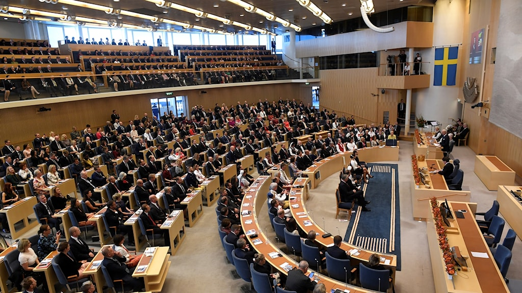 The interior of the chamber of Sweden's parliament