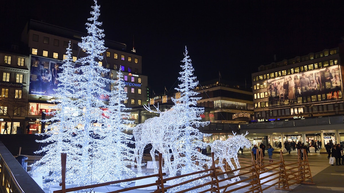 Christmas trees and lights at Sergels Torg.