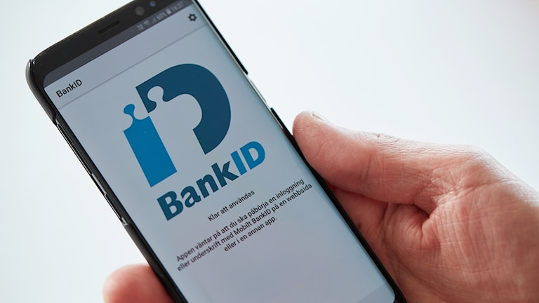 A mobile phone showing the Bank ID app.