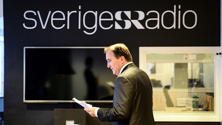 Sweden's Prime Minister Stefan Löfven in Swedish Radio's headquarters.