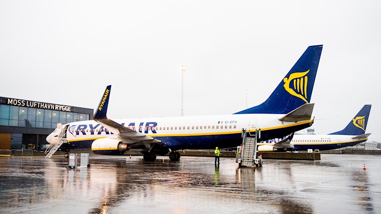 Airplane marked with Ryanair's logo.